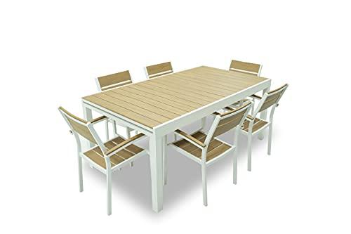 Set Tavolo con 6 SEDIE da Giardino ALLUNGABILE da180/250 x 100 x H 75 cm in Alluminio Bianco con Piano dogato in Polywood Color Teak.