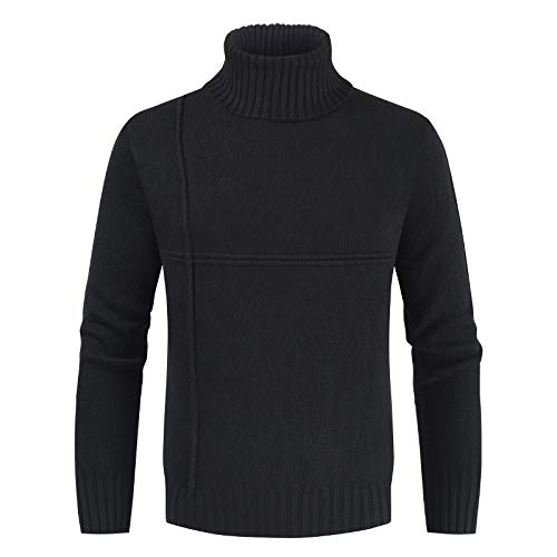 Zestion Herren Rollkragenpullover Einfarbig Stretch Slim Fit Pullover Feinstrick Langarm Warm Casual Classic Basic Pullover 3X-Large