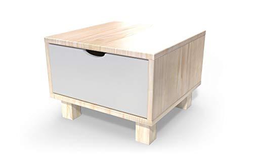 ABC MEUBLES - Chevet Cube tiroir Bois, Couleur: Vernis Naturel/Gris Souris