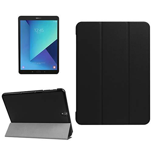 JIANGHONGYAN para Samsung Galaxy Tab S3 9.7 Pulgadas T820 / T825 Custer Textura Horizontal Funda de Cuero con Tapa Plegable 3 Titular (Color : Black)