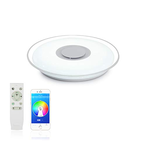 MAKELONG Iluminación de techo de interior,Plafonnier Plafón LED Lámpara de Techo con Altavoz Bluetooth, 3000-6500K + RGB ajustable candelabro, Modo de luz nocturna,APP Disponible (HY36W 450mm)