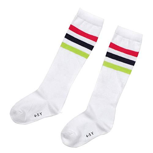 FZBNSRKO 1 Pair Toddlers Kids Girls Boys Cotton Knee High Long Soccer School Socks for Kids 4-5 Years Old(White)