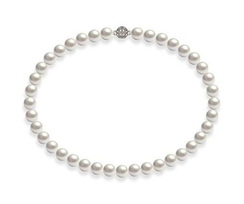Schmuckwilli Damen Muschelkernperlen Perlenkette Weiß Magnetverschluß echte Muschel 50cm dmk1017-50 (10mm)