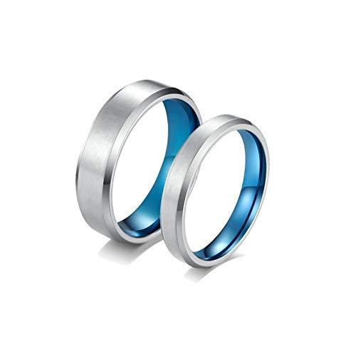 ANAZOZ 2 Stücke Paarringe 4mm Edelstahl Partnerringe Nickelfrei 6mm Edelstahl Ring Schwarz Kette Eheringe Trauringe Damen Größe 52 (16.6) & Herren Größe 54 (17.2)