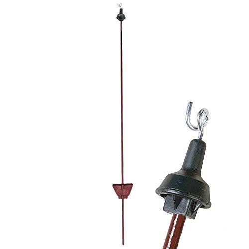 25x verenstalen paal 105 cm, rond, roodbruin - draadoogisolator - Made in Germany - runder, paarden, weiden - gebogen veiligheids-stapplaat