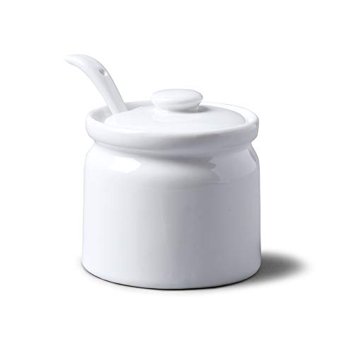 WM Bartleet & Sons 1750 T165 Traditional Porcelain Sugar/Jam/Mustard Pot with Lid & Spoon 8cm – White