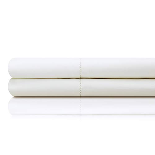 MALOUF Artisan Italian Cotton Percale Sheets - 100% Authentic Egyptian Cotton - Made in Italy - Queen - White