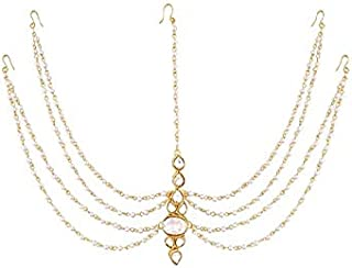 wedding Gold Plated Chain with Pearl Layer and Kundan Stones Mangtika for Women