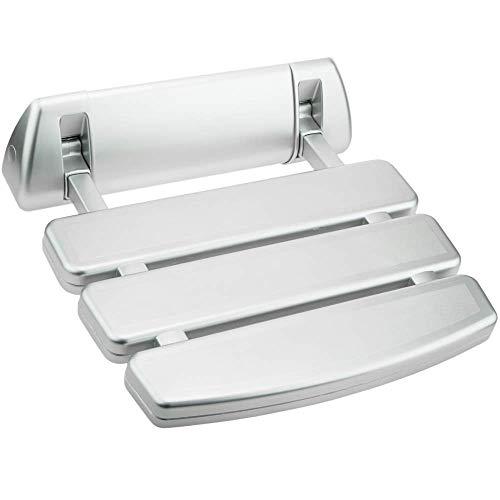 PrimeMatik - Asiento de Ducha abatible. Silla Plegable para Ancianos de plástico y Aluminio Plateado 350x348mm