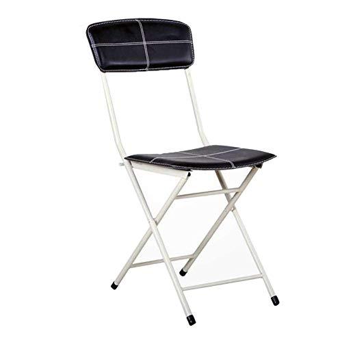 QIDI Chaise d'ordinateur , Chaise Pliante , Chaise Longue Chaise de conférence Métal Cuir Simple Moderne - 40 * 55 * 80cm - Noir (Couleur : Noir)