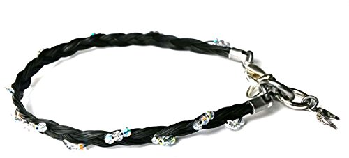 Armband aus Pferdehaar/Schmuck aus Schweifhaar 17,5 cm lang versilbert mit eingeflochtenen Swarovskiperlen