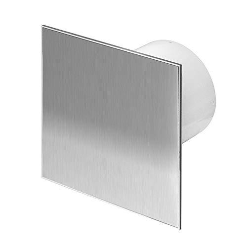 Diámetro de 125 mm Badventilator diseño de acero inoxidable con la humedad sensor higrostato y temporizador y válvula antirretorno WTI125H ventilador pared ventilador baño ventilador de montaje de ventilador de cocina o baño silencioso 12,5 cm