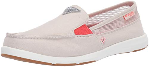 Columbia PFG Women's Delray II Slip PFG Boat Shoe, Fawn, red Coral, 9 Regular US