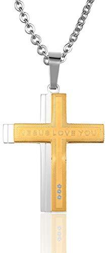 ANAZOZ RVS Kettingen, Heren Ketting Hanger Groei Ring Kruis Jezus Liefde U CZ 40x38MM Goud