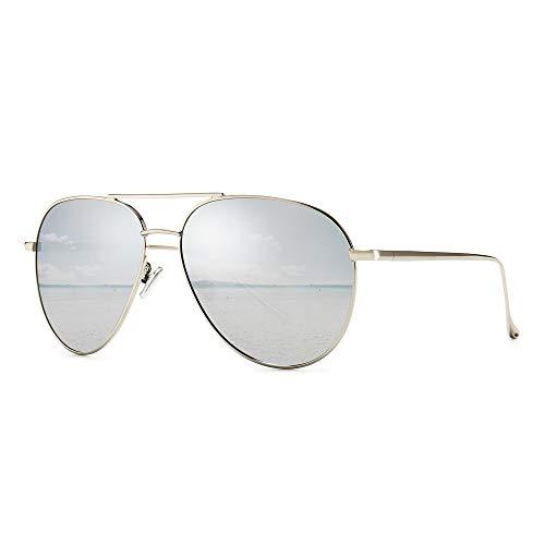 SUNGAIT Gran Tamaño Aviator Gafas de Sol Ligeras para Mujer con Lente Polarizada Espejada(Plateado/Plateado)-SGT603
