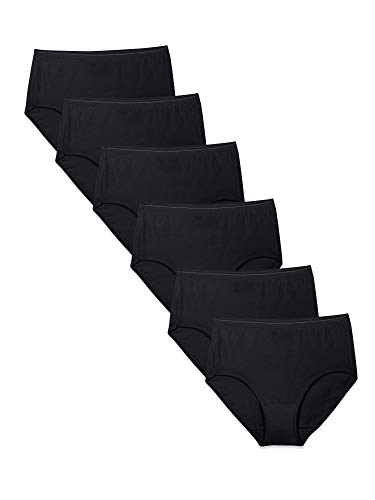 Fruit of the Loom Women's Tag Free Cotton Panties (Regular & Plus Size), Brief - 6 Pack - Black, 9