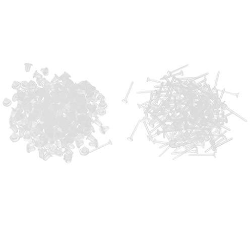 kowaku 1000Pcs Pendientes Pernos Prisioneros Y Respaldos Pendientes de Aleación Respaldos Pendientes Postes - Color Blanco de plástico, Individual
