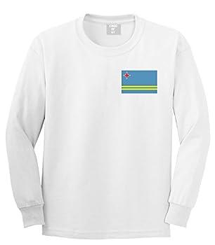 Aruba Flag Country Chest Long Sleeve T-Shirt XXX-Large White