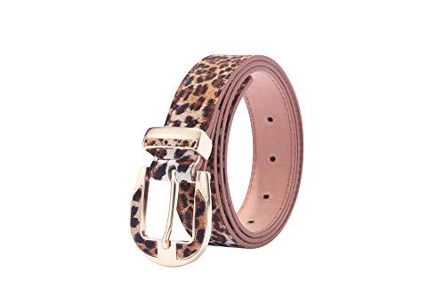 WODISON Pelle donne Faux Cintura leopardo Lunghezza stampa 41.3-45.3 pollici Larghezza 1.1 pollici