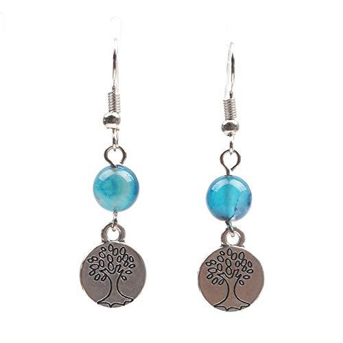 New cross earrings creative agate pendant lotus earrings European and American jewelry earrings-tree