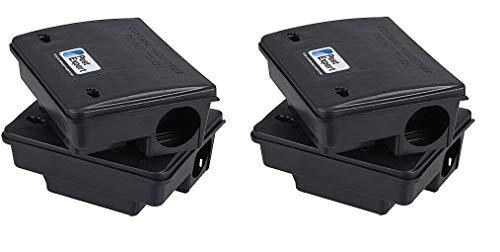 Pest Expert Rat & Mouse Poison Bait Boxes Outdoor Stations (x4) Heavy-Duty, Tamper Resistant & Lockable