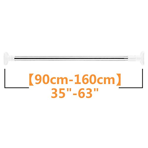 qazwsx Barra de Cortina telescópica de Acero Inoxidable, Poste de tensión de Ducha sin perforación para Barra de Toalla, Cocina, Ventana, bañera, Puerta, Dormitorio, a 90-160cm (35-63 Pulgadas)