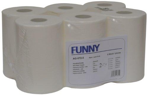 Funny Handtuchrolle mit Spezialkern, für Markenfreie Spendersysteme, 2 lagig hochweiß, 21, 3 cm, circa 100 m, 5er Kern, 1er Pack (1 x 6 Stück)