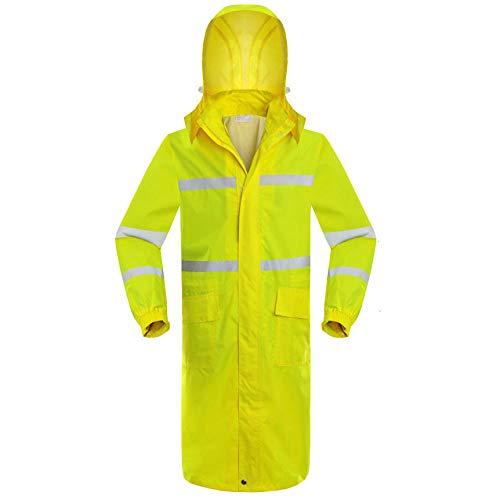 SHUAHNX Regenjacken Mäntel Hohe Sichtbarkeit Sicherheit Wasserdicht Herren Arbeitskleidung Regenjacke Arbeitsschutzjacke Sicherheit Reflektierenden Langen Regenmantel-Yellow_L
