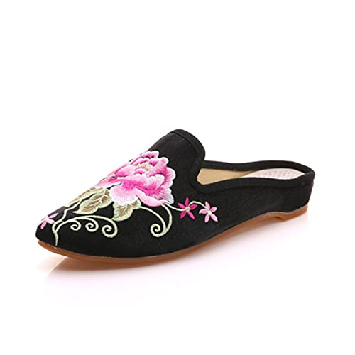 Freizeit bestickte Hausschuhe, Frauen Chinesische Blumen Pfingstrose Stickerei Chinesisch Stil Satin Casual House Pumps Hausschuhe Schuhe Freizeit Sandalen,Schwarz,34