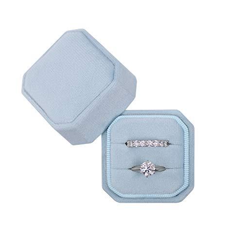 Octagon Square Ring Box Wedding Engagement Ring Set Keepsake Box Bridal Photo Gift Box (Sky Blue)