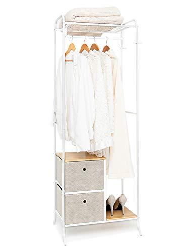 SUHU Fahrbarer Kleiderständer Metall mit 2 Schubladen aus Stoff Garderobenständer mit Haken Garderobe Offenes Hängeregal Kleiderstange Schuhregal für Vorzimmer Flur Holz+Stahl Weiß+Beige