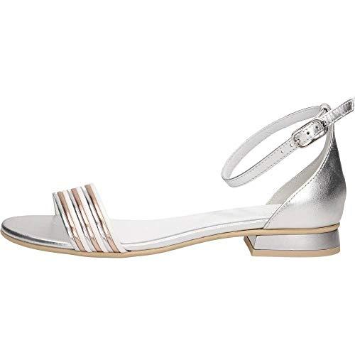 Sandalo da Donna NeroGiardini in Pelle Argento E012500D. Scarpa dal Design Raffinato. Collezione Primavera Estate 2020. EU 39