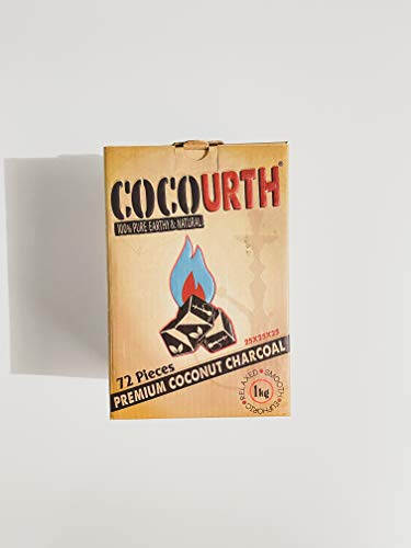 Hookah Natural Coconut Charcoal 72 Pieces Cube Coco Urth 1 Kilo Shisha Coal
