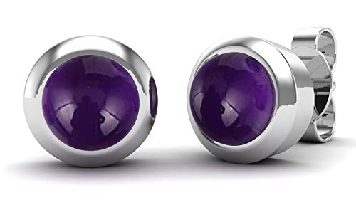 Gemshiner Purple Amethyst Round Stud Earrings with 925 Sterling Silver for Women and Girls
