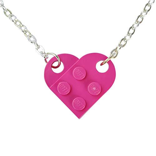 SJP Cufflinks Love Heart Necklace Handmade from Lego Plates (Pink) Wedding, Girlfriend, Valentines, Birthday, Ladies Jewellery Gift