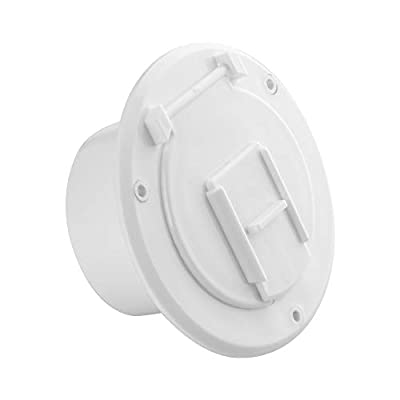 Halotronics RV 4 1/4-inch Round Electrical Cable Hatch for 30 Amp Cords (White)