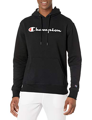Champion Men's Graphic Powerblend Fleece Hoodie, Black Script, Medium