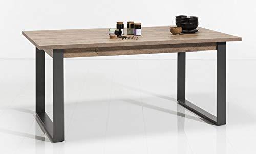Muebletmoi - Mesa de comedor extensible de 180 cm, madera y metal, diseño industrial Factory – Colección Brooklyn
