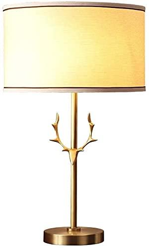 XFXDBT Lámpara de mesita de Noche Lámpara de Mesa de asta Americana Decoración del hogar Estudio Lámpara de Escritorio Dormitorio Lámpara de Noche de Cobre 59 * 35 cm