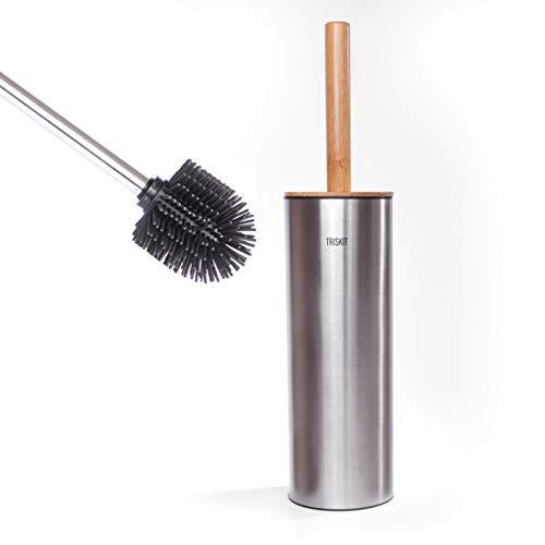 Triskit® Premium Silikon - Toilettenbürste | antibakterieller Klobürstengriff aus Bambus | Silikon WC-Bürste | 360 Grad TPR Borsten | antibakterieller Edelstahl – Bürstenbehälter (Edelstahl 304)