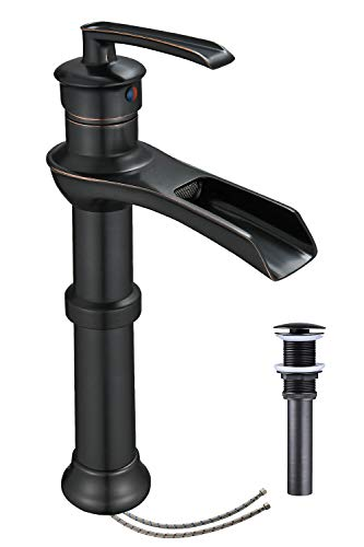 Homevacious Bathroom Vessel Sink Faucet Waterfall Tall Sink Oil Rubbed Bronze Antique With Pop Up...