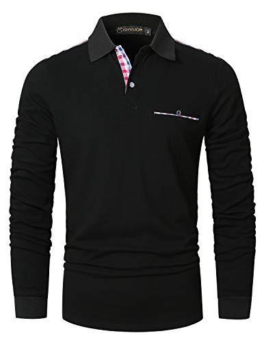 GHYUGR Polos Hombre Manga Larga Camiseta Bolsillo a Cuadros Clásico Slim fit Deporte Golf Tennis Oficina T-Shirt,Negro,M