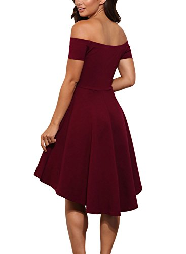 Sidefeel Women Off Shoulder Sleeve High Low Skater Dress X-Large Red