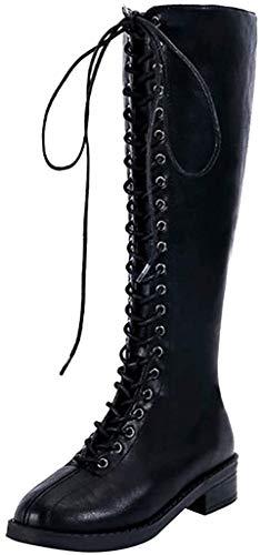 Hohe Stiefel Damen High Heels Sockenstiefel Winterstiefel mit Schnürung, Frauen Langschaftstiefel Lang Boots Elegante Schuhe Winter Warme Damenschuhe Celucke (Schwarz, 40 EU)