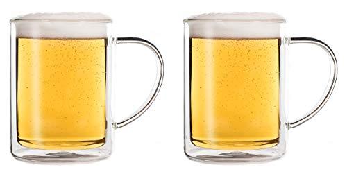 Feelino, 2 bicchieri da birra a doppia parete, 600 ml, bicchieri da birra di frumento, bicchieri da birra a doppia parete, termici, mantiene il freddo più a lungo
