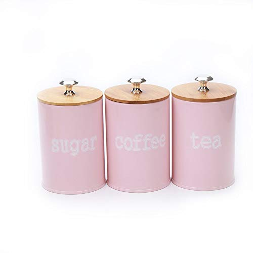 X022S Set of 3 Metal Food Storage Tin Canister/Jar with Bamboo Lid (matte pink)