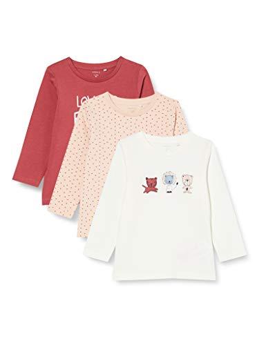 NAME IT Baby-Mädchen NBFTESINE 3P LS TOP Shirt, Peach Whip, 74