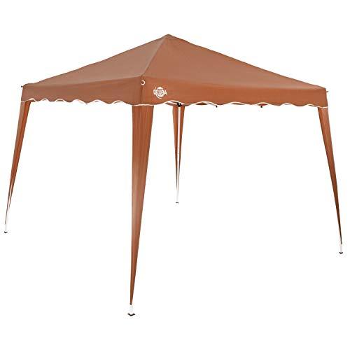 Deuba Gazebo da Giardino 3x3m Capri Impermeabile Pop up Richiudibile A Fisarmonica Protezione UV50 Feste Spiaggia Campeggio Marrone