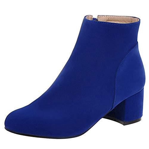 Femany Damen Blockabsatz Stiefeletten mit Reißverschluss Chunky Heel Ankle Boots 5cm Absatz Kurzschaft Stiefel Winter Schuhe (Blau,41)