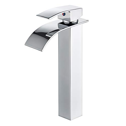 HOROW Bathroom Waterfall Vessel Sink Faucet, Single Hole Single Handle Vanity Faucet Polished Chrome